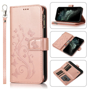 Luxury Zipper Leather Wallet Flip Multi Card Slots Case For Samsung Galaxy A20/A20E