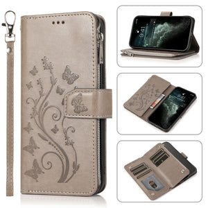 Luxury Zipper Leather Wallet Flip Multi Card Slots Cover Case For iPhone 12Mini