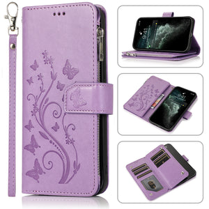 Luxury Zipper Leather Wallet Flip Multi Card Slots Cover Case For iPhone 11/11Pro/11Pro Max