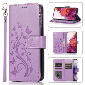 Luxury Zipper Leather Wallet Flip Multi Card Slots Cover Case For Samsung S21Ultra