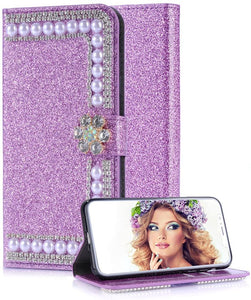 Luxury Fashion Glitter Bling Rhinestone Closure Wallet Leather Case For iPhone