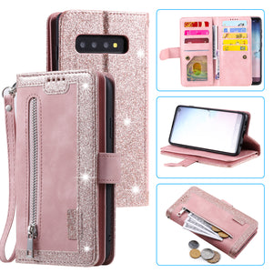Kombi 12304; 2021 New comfortable comfortable room;Nine Card Zipper Retro Leather Wallet Phone Case for Samsung Galaxy S10PLUS