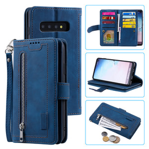 【2021 New】Nine Card Zipper Retro Leather Wallet Phone Case For Samsung Galaxy S10PLUS
