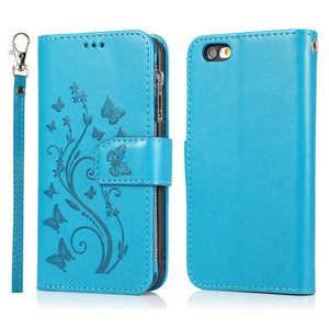 Luxury Zipper Leather Wallet Flip Multi Card Slots Cover Case For iPhone 6/6S