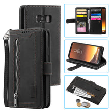Load image into Gallery viewer, 【2021 New】Nine Card Zipper Retro Leather Wallet Phone Case For Samsung S8