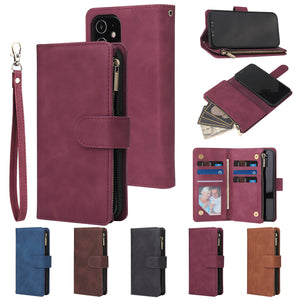 Soft Leather Zipper Wallet Flip Multi Card Slots Case For iPhone 11