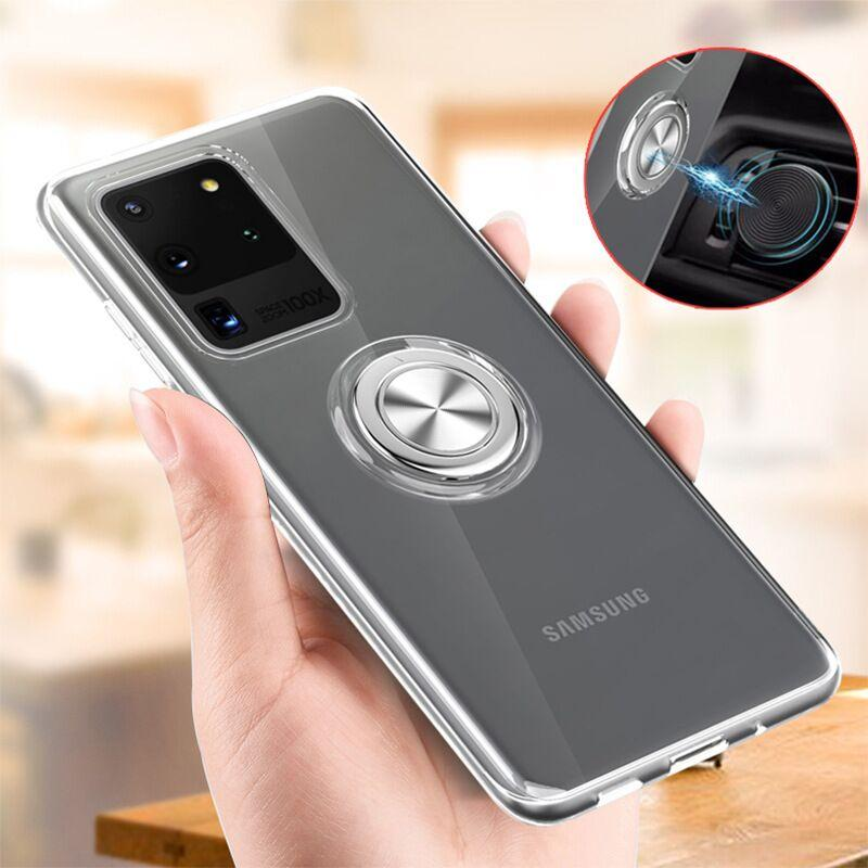 Transparent Soft Silicone Magnetic Ring Holder Phone Case For Samsung