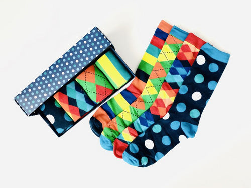 Great gift box set of colourful socks with polka dots, stripes, diamonds and argyle. This 4-pack comes in its own gift box from Pomelo Socks.