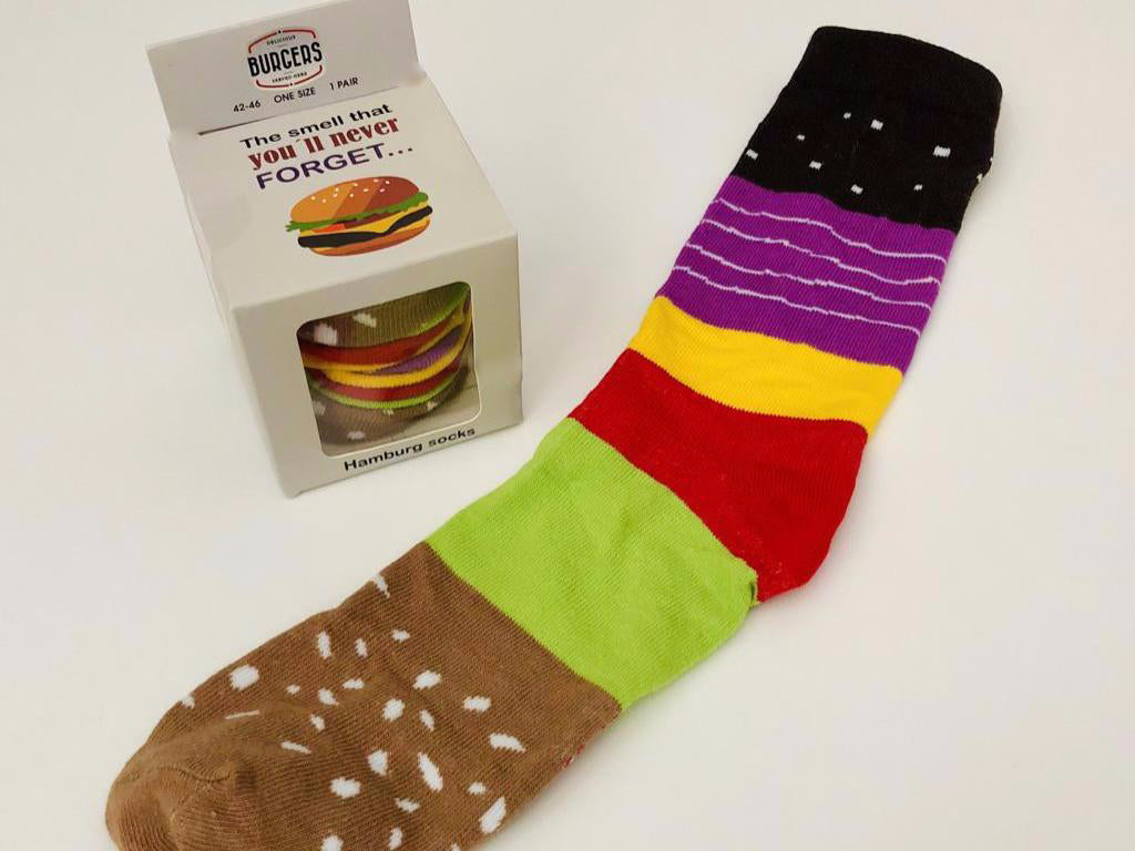 The socks are packed to actually look like a hamburger with all the fixings.  Food socks that make a creative gift from Pomelo Socks.