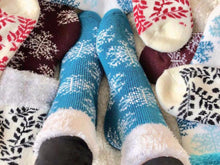 Load image into Gallery viewer, Close up of Pomelo Socks soft and cozy socks.  This leaf and snowflake collection from www.pomelosocks.com makes for a great gift set.