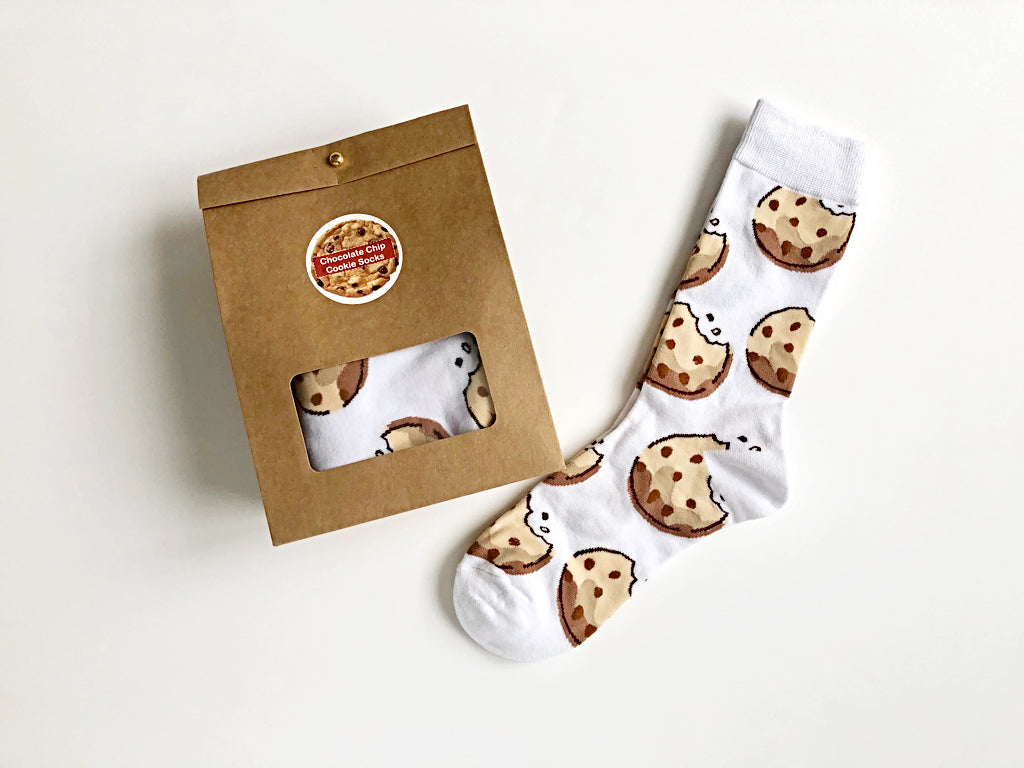 Chocolate Chip Cookie Socks in Gift Bag