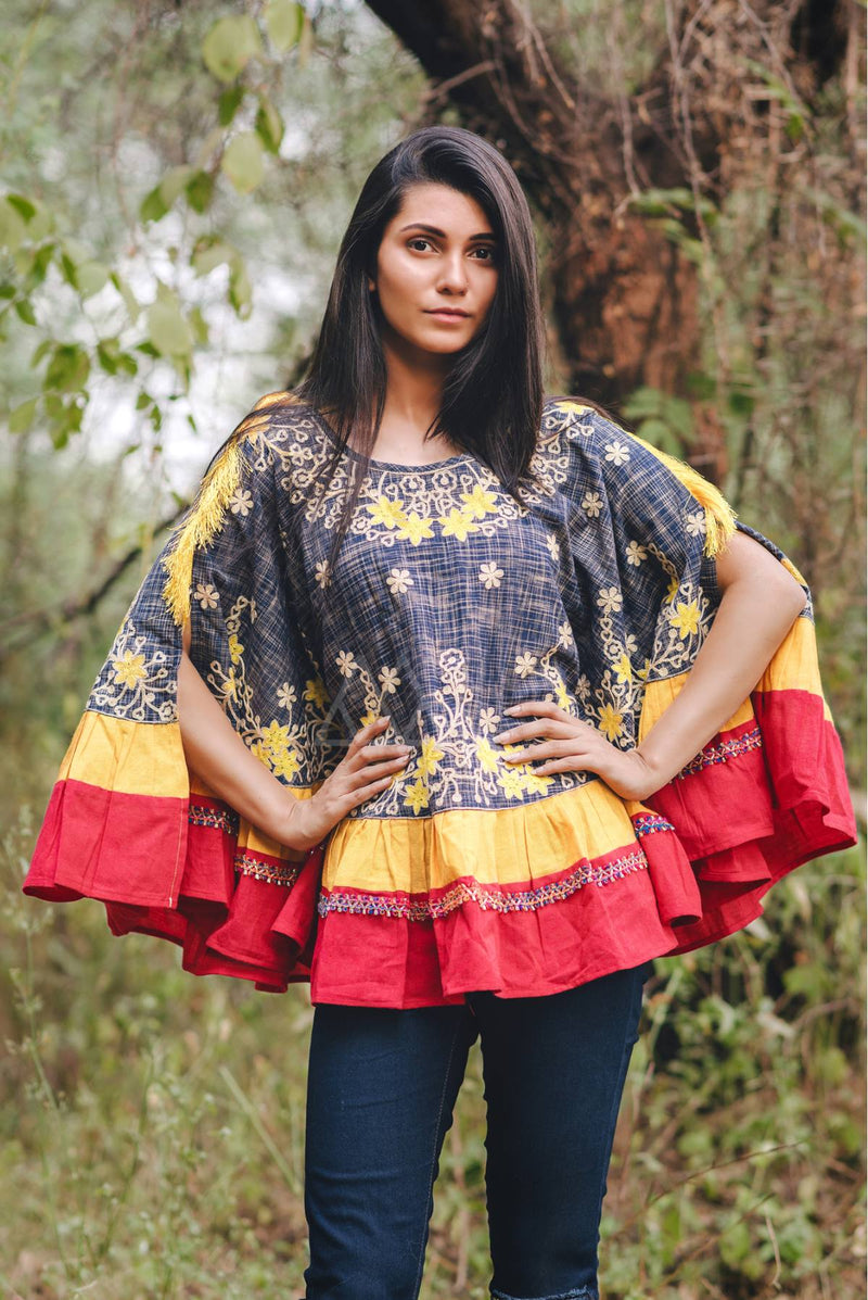 Navy blue and red khadi poncho STC9008