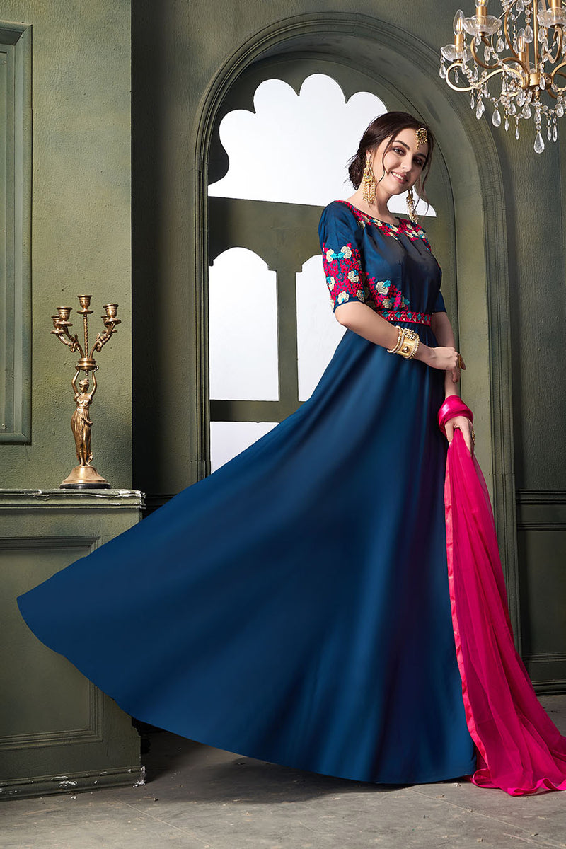 Designer Floor Length Suit In Blue Color STC 2132