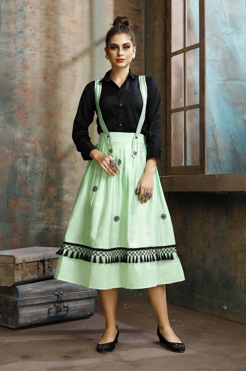 Dress Which Has A Black Colored Shirt Paired With A Dungaree Dress In Light Green Color STC9062