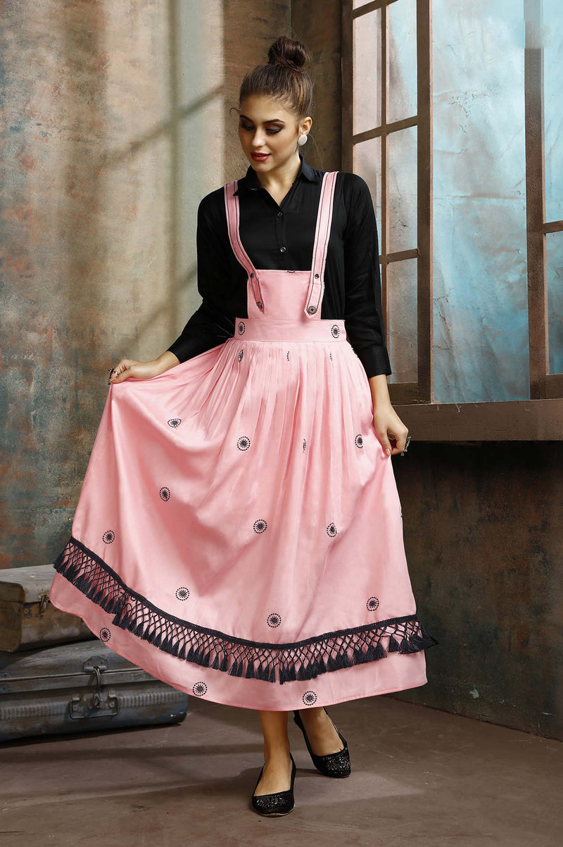 Dress Which Has A Black Colored Shirt Paired With A Dungaree Dress In Pink Color STC9064