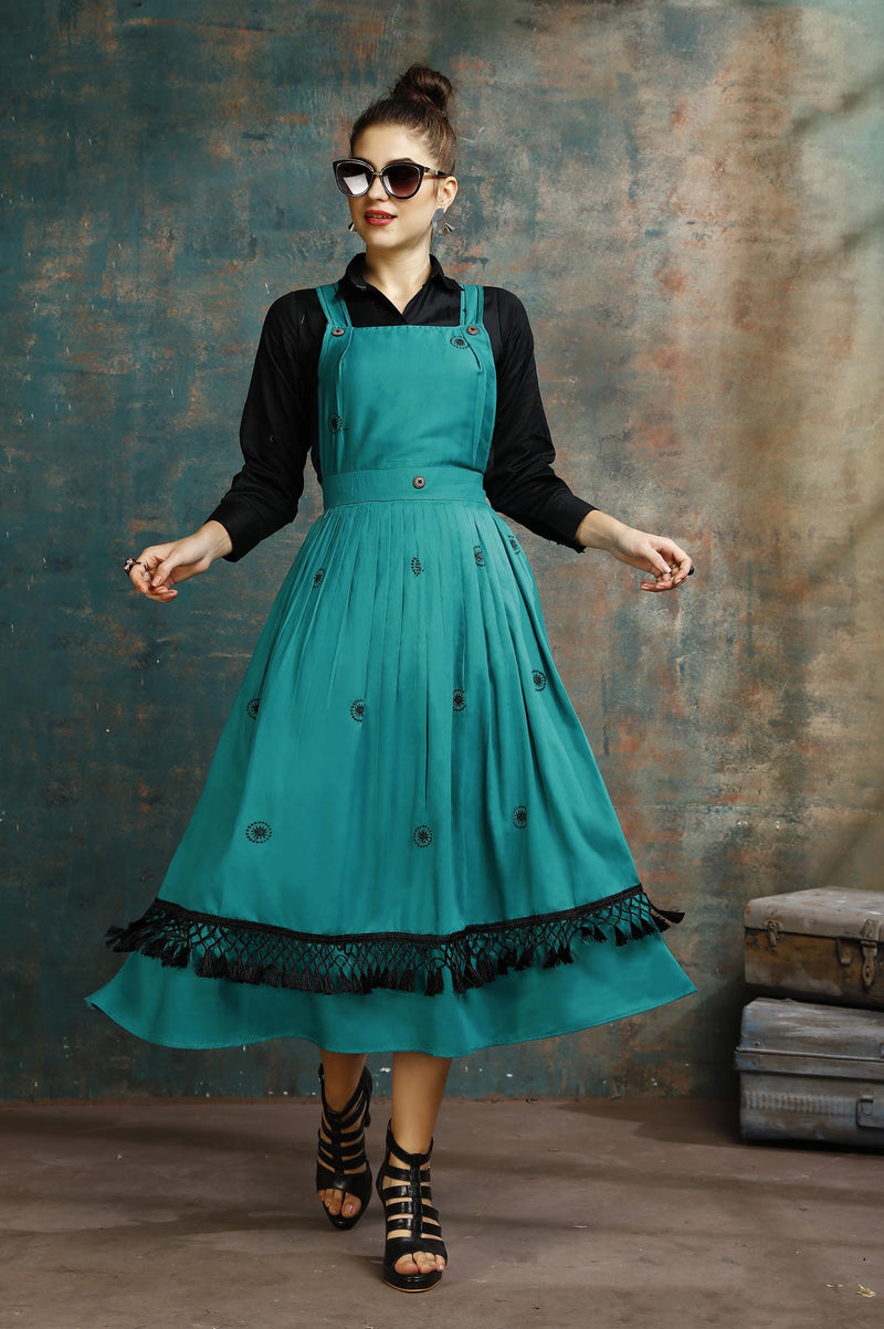 Dress Which Has A Black Colored Shirt Paired With A Dungaree Dress In Teal Blue Color STC9067