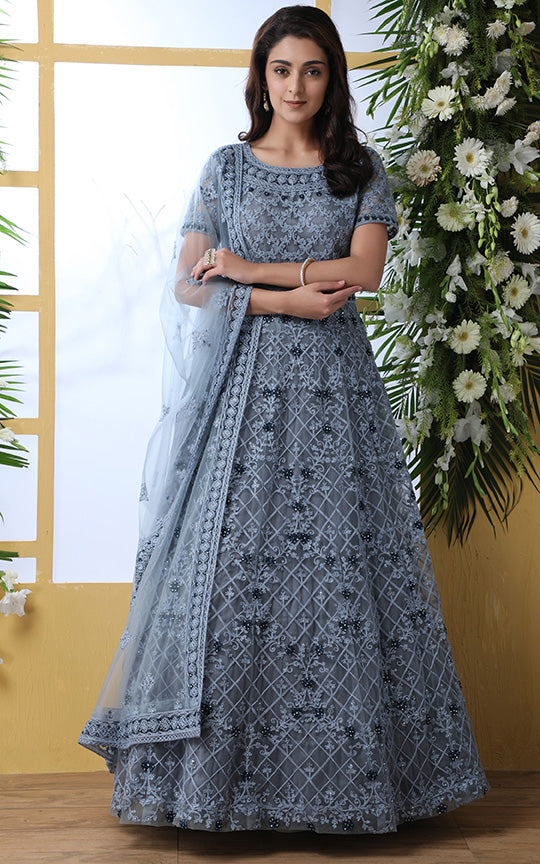 Designer Floor Length Gown In Grey Color Paired With Peach Dupatta STC4024