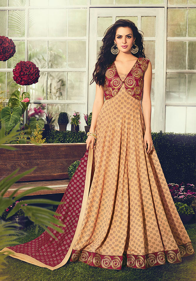 Designer Floor Length Suit In Beige Color STC 2104