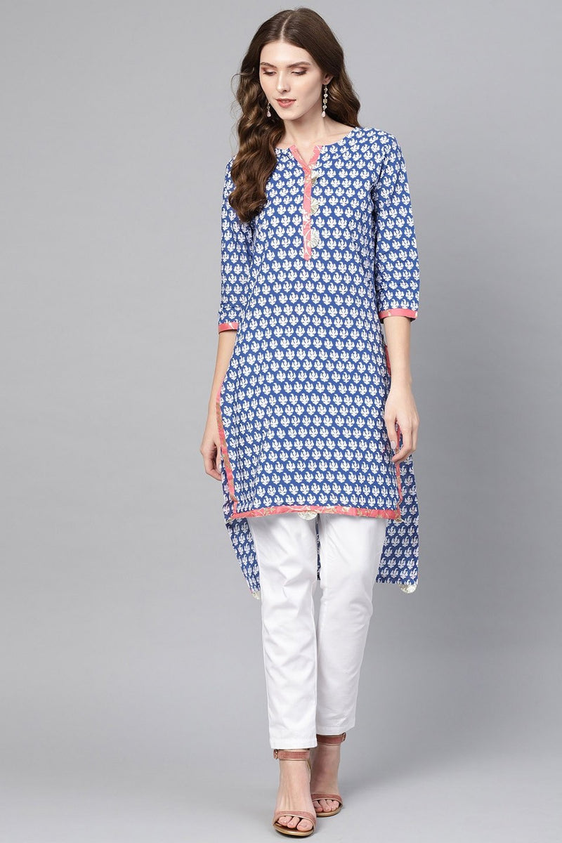 Kurti For Your Casual Wear In Blue Color STC9068