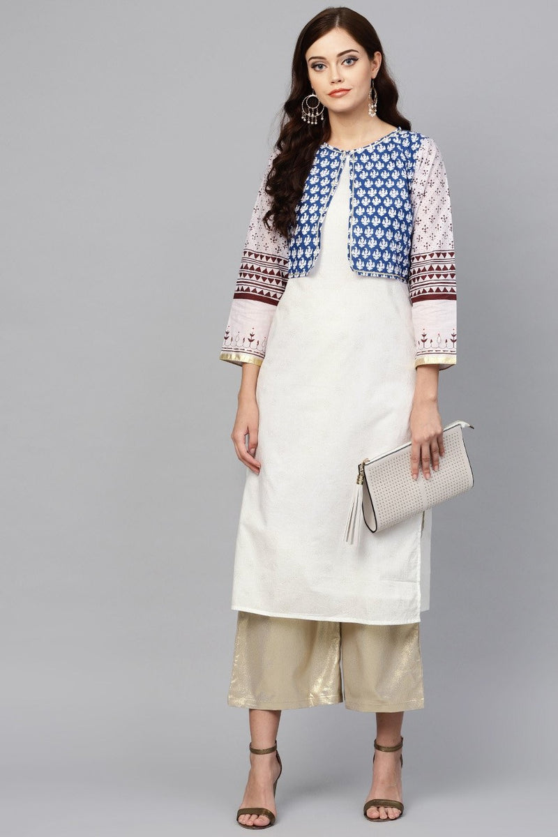 Kurti For Your Casual Wear In White And Blue Color STC9076