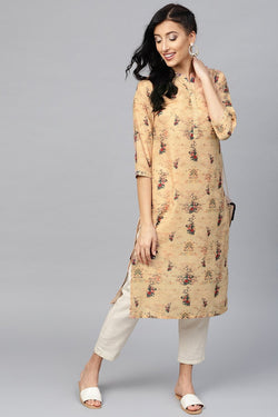 Kurti For Casual Wear In Beige Color STC9081