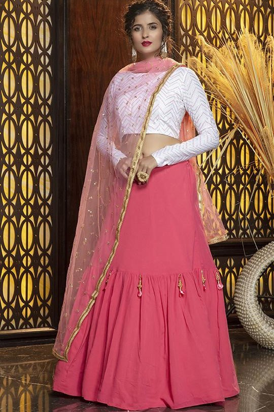 Lehenga Choli In White Blouse Paired With Pink Dupatta STC0031