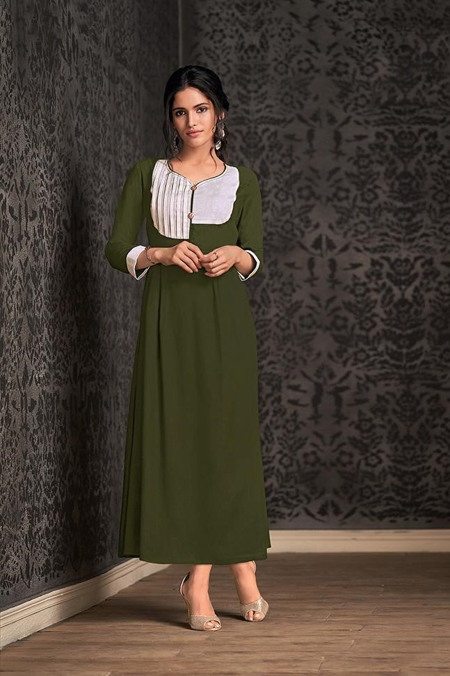 Long Kurti In Olive Green STC9045