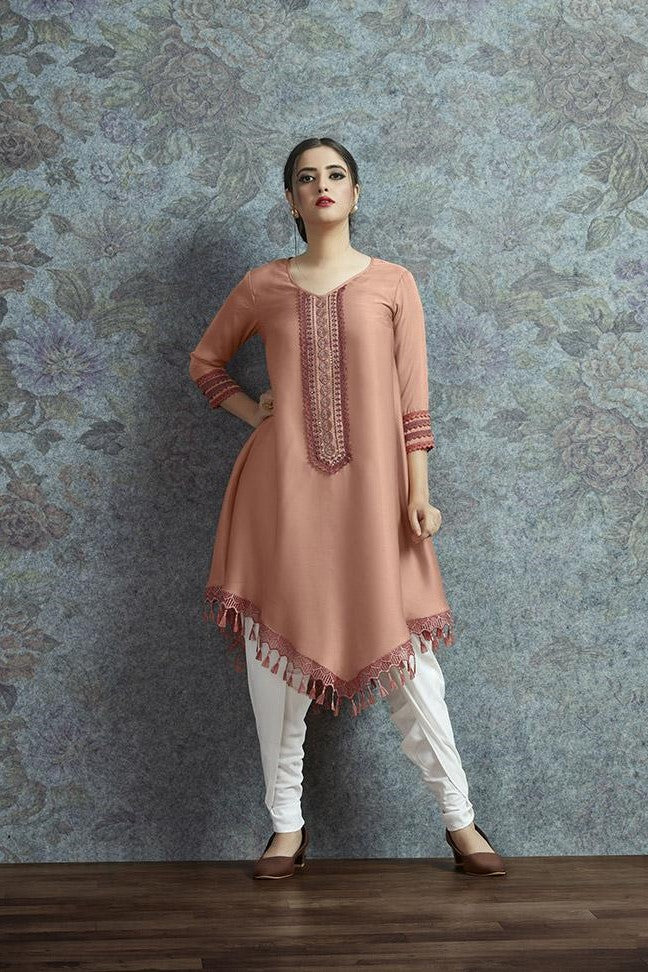 Kurti In Peach Color Paired With White Colored Bottom STC9051