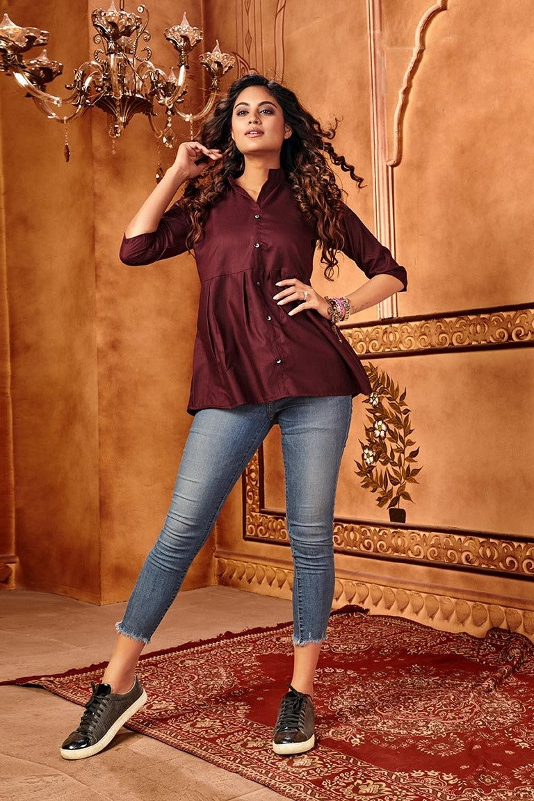 Lovely Dark Wine Colored Top STC9095