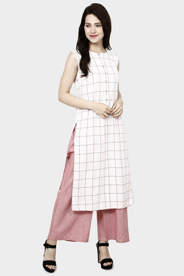 Kurti In White Color Paired With Pink Colored plazzo STC9131