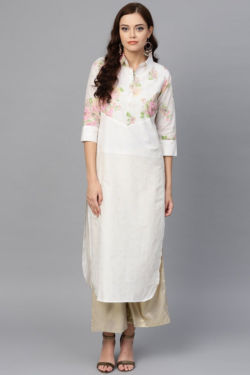 Kurti For Your Casual Wear In White Color STC9087