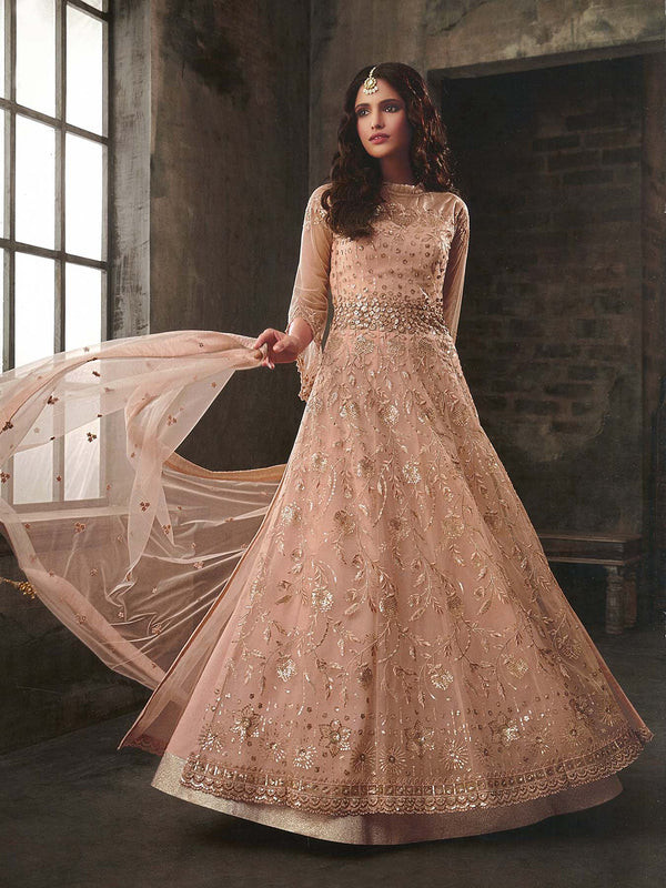 Designer Indo-Western Suit All Over Peach Color STC4050