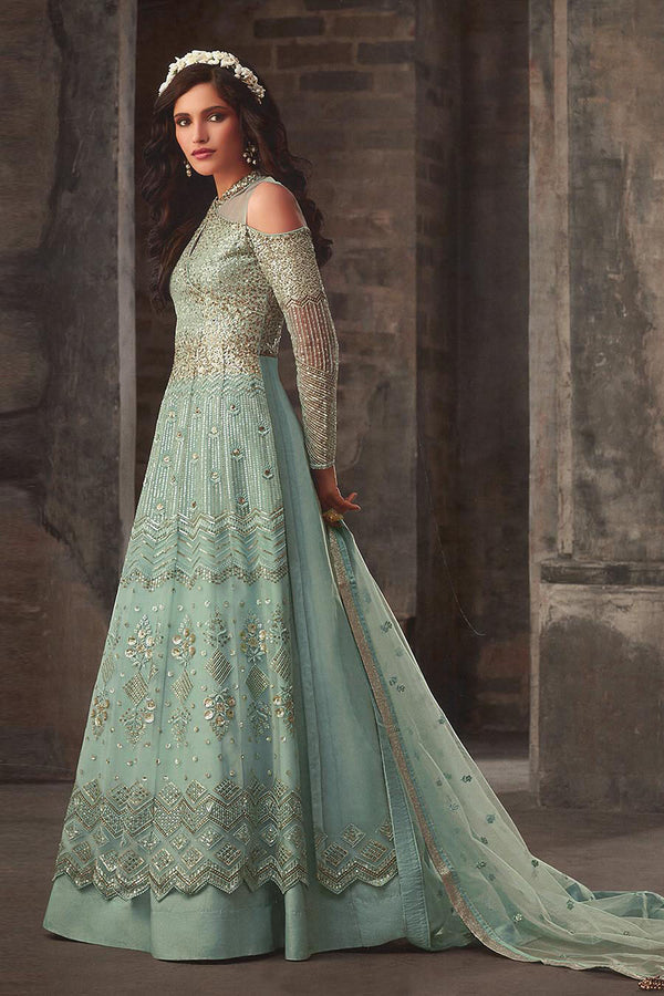 Designer Indo-Western Suit All Over Aqua Blue Color STC4054