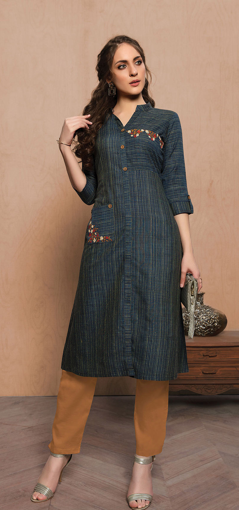 Straight Kurti In Navy Blue Color STC9089