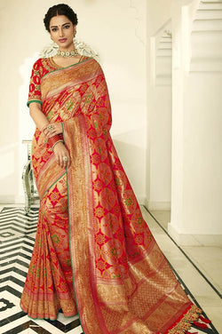 Traditional Look Saree In Orange Paired With Dark Pink Blouse STC3126