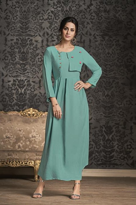 Simple And Elegant Long Kurti In Turquoise Blue Color STC9047