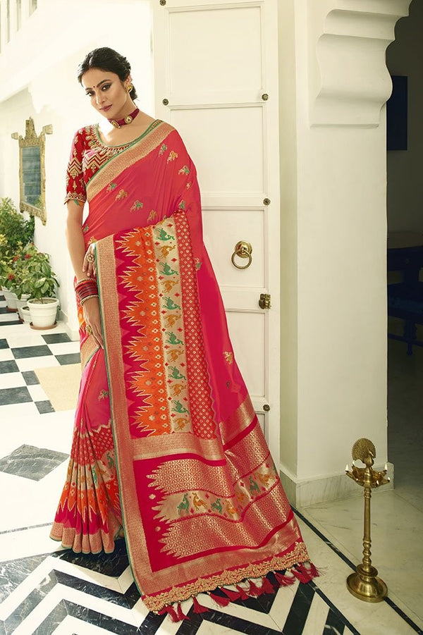 Traditional Look Saree In Rani Pink Paired With Red Blouse STC3130