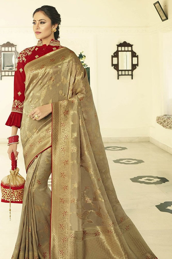 Traditional Look Saree In Beige Paired With Red Blouse STC3125