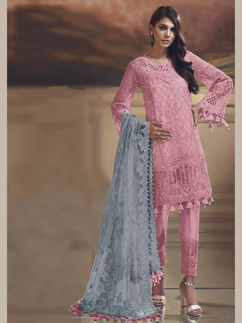 Straight Suit In Pink Color STC 2056