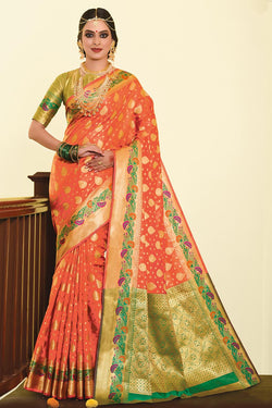 Designer Silk Based Saree In Orange Paired With Contrasting Green Blouse STC3023