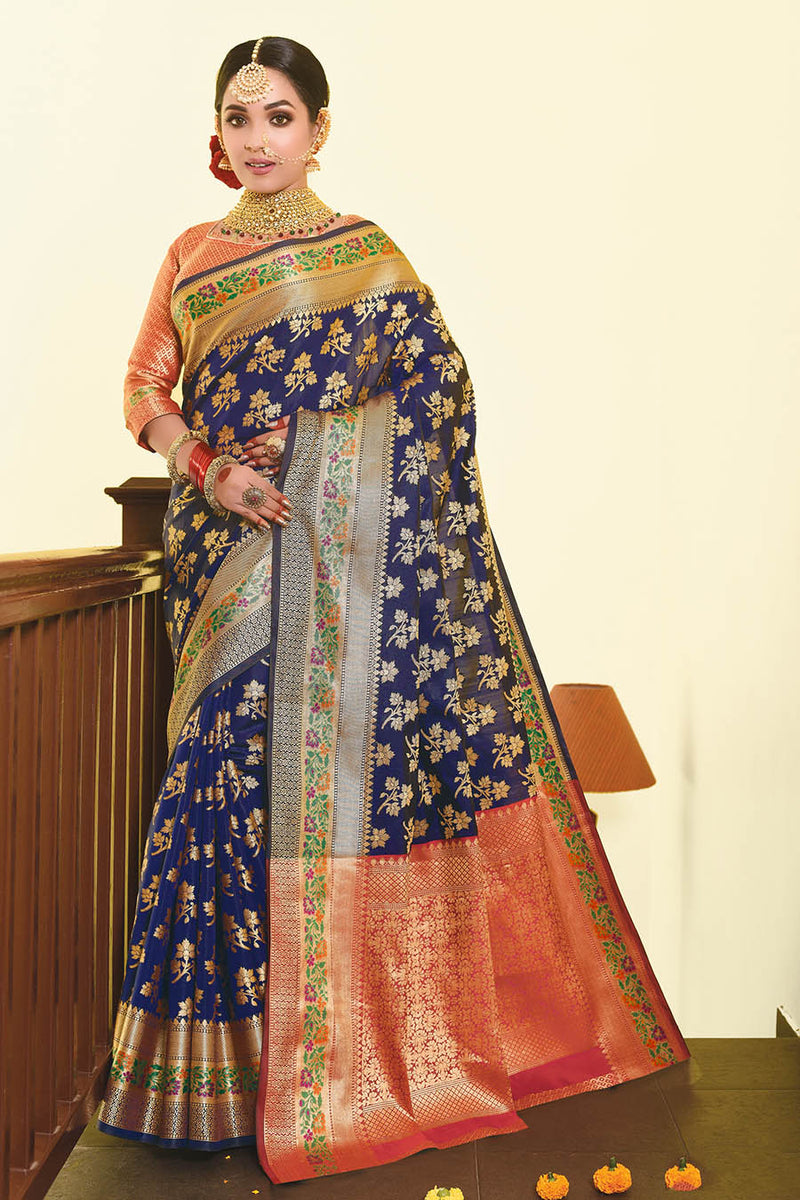 Designer Saree In Navy Blue Paired With Contrasting Dark Pink Blouse STC3024