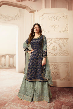 Designer Sharara Suit In Navy Blue Color STC 2028