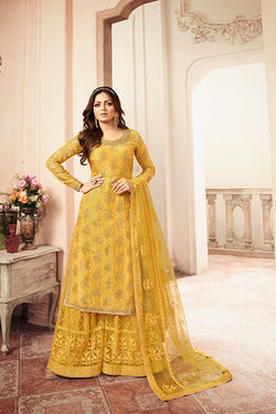 Designer Sharara Suit In Yellow Color STC 2032