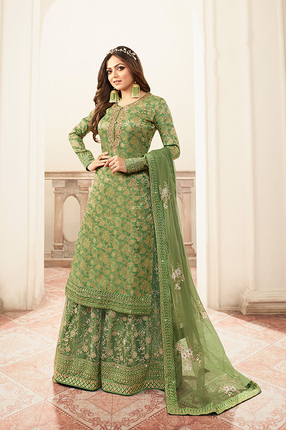 Designer Sharara Suit In Green Color STC 2034