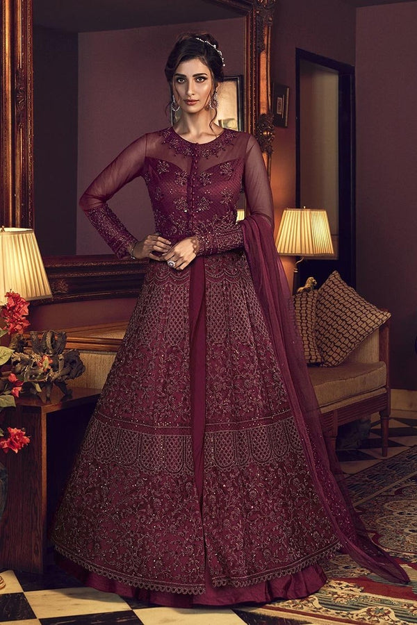 Designer Suit In Dark Magenta Pink Color STC4046