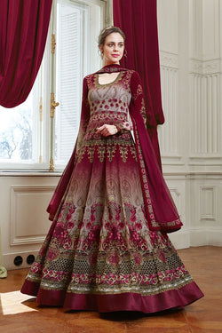 Designer Floor Length Suit In Maroon Color STC 2083