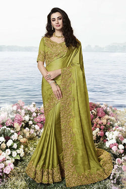 Designer Saree In Olive Green Color STC3099
