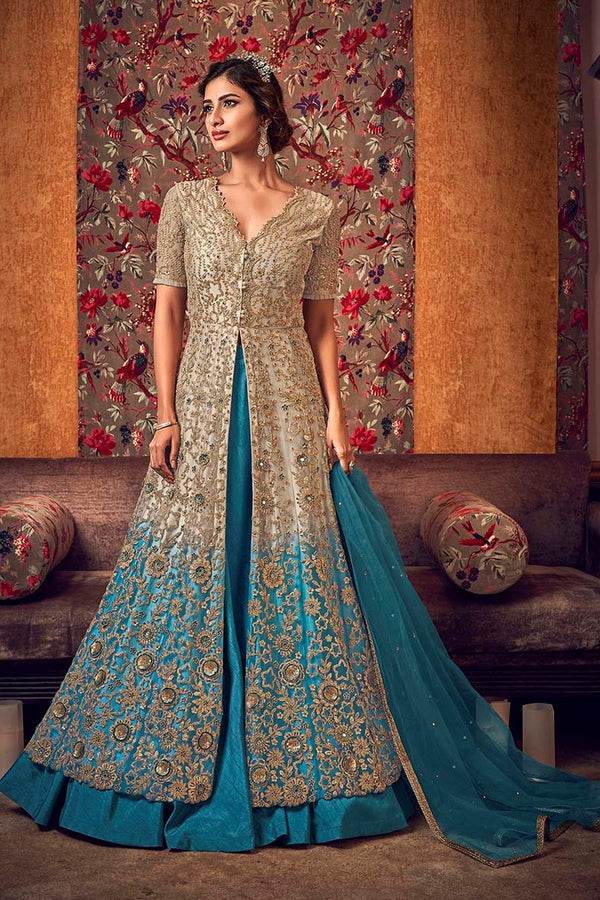 Designer Indo-Western Suit In Cream And Blue Color STC4043