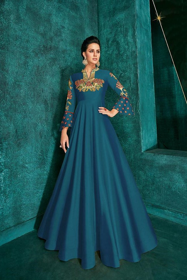 Designer Gown In Blue Color STC4016