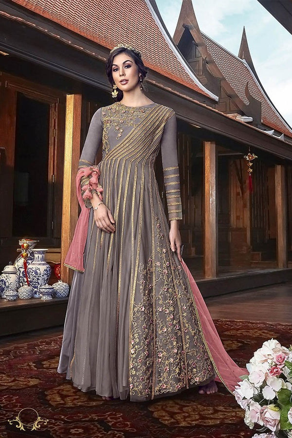 Indo-Western Dress In Grey Paired With Contrasting Pink Dupatta STC4062
